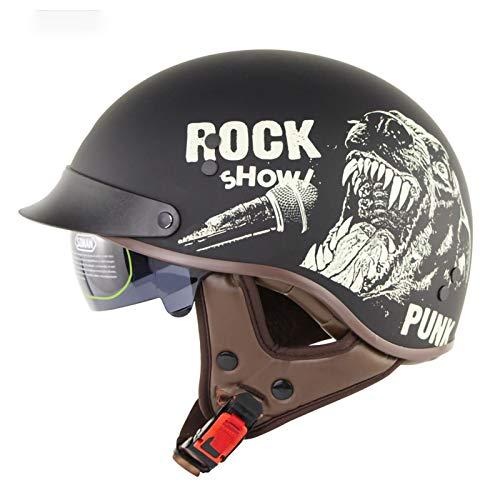 Casco Moto Jet Abierto,Casco ECE Homologado Retro Vintage Style Cascos Half-Helmet con Visera Casco Moto Abierto para Adultos Hombres Mujeres E,L58~59CM