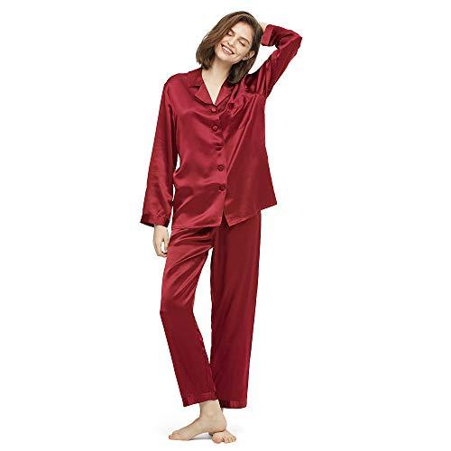 LilySilk Elegante Seide Nachtwäsche Schlafanzug Pyjama Damen Lang Hausanzug 16 Momme Weinrot L Verpackung MEHRWEG