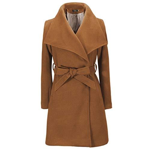 tiowea dames casual omslagkraag lange mouwen vaste riem lange wol jas jas jas Large kaki
