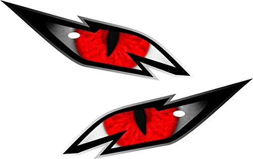 Paar boze draak ogen met rode iris vinyl drone motorhelm auto sticker Decal 75x30mm elk