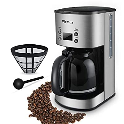 Vlemua 12 Cup Programmable Coffee Maker, Drip Coffee Brewer, Simply Fast Coffee Machine with Glass Carafe, Stainless Steel Finish, Strong Brew, 1000W, Silver