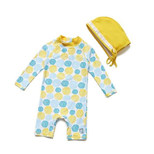 Baby Mädchen Ein stück Langärmelige-Kleidung UV-Schutz 50+ Badeanzug MIT Einem Reißverschluss (Gelb-Blume, 9-12m)