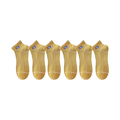 SOCKE 6 pares de calcetines de tobillo de corte bajo, calcetines de corte bajo, calcetines deportivos para correr, gimnasio, entrenamiento, ocio, caminar, uso casual, amarillo, Taille unique