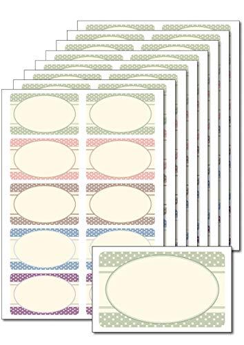 80 Etiketten 'Vintage Punkte' zum Bedrucken, Beschriften, DIN A5, selbstklebend für Einmachgläser