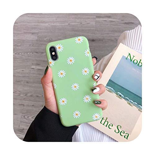 Fundas para iPhone XS 11 Pro MAX XR X XS Max caso para iPhone 11 7 6 6S 8 Plus Daisy silicona anti-caída impresión suave cubierta verde-para iPhone X