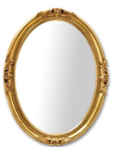 MO.WA Specchio da Parete Ovale Classico Finitura a Mano con Foglia Oro. Misura Esterna cm. 63x83. Stile Francese, da Appendere Orizzontale/Verticale Made in Italy.