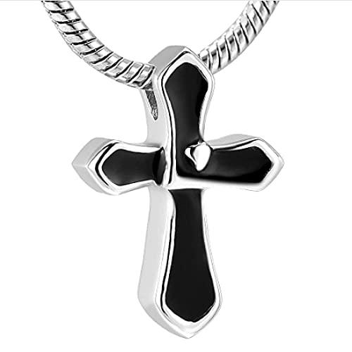 MITIAN Joyería religiosa de la cremación de la cruz para las cenizas, colgante del sostenedor urnas de acero inoxidable recuerdo collar para hombres y mujeres