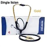 Silicone doll xx Leicht Doppelkopfstethoskop,Traditional Flackopf Stethoskop,FüR Erwachsene, KinderäRzte Und SäUglinge,Gold