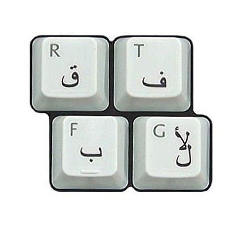HQRP Arabische Tastatur-Aufkleber mit schwarzer Beschriftung auf transparentem Hintergrund für alle Rechner/Computer/PC/Desktops/Laptops/Notebooks
