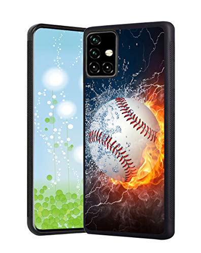 Samsung A51 Case,[Only Fit A51 4G Version,Not 5G],Anti-Scratch Slim Shockproof Protective Bumper Cover Case for Samsung Galaxy A51,Black,Sports - Hot Baseball