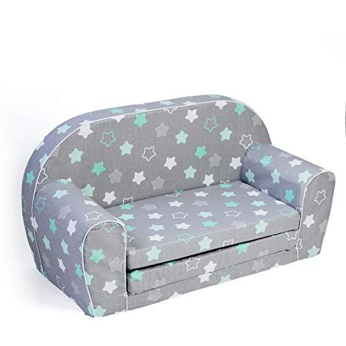 MuseHouse Kindersofa Kindercouch Kindersessel Sofa Bettfunktion Kindermöbel (Gray/Stars)