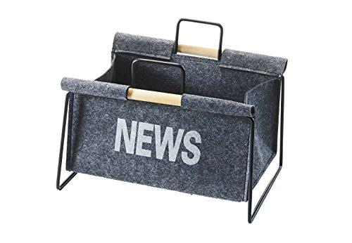 Kobolo Zeitungsständer aus Metall und Filz Zeitungskorb 37x31x28 cm