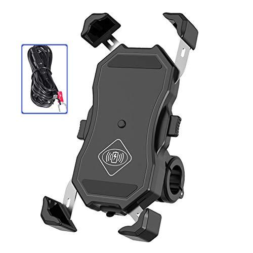 Soporte para teléfono móvil con cargador inalámbrico rápido para motocicleta, fijado en el manillar o en el poste del espejo retrovisor, adecuado para teléfonos móviles de 3,5 a 7 pulgadas