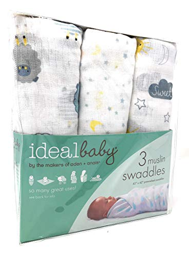 aden + Anais Swaddle Blanket, Boutique Muslin Blankets for Girls & Boys, Baby Receiving Swaddles, Ideal Newborn & Infant Swaddling Set, 3 Pack, Sheep Under The Sky, Lullaby