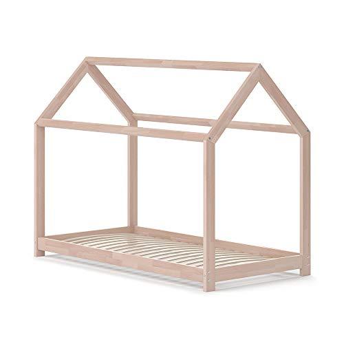VitaliSpa Hausbett Wiki Weiß Kinderbett Kinderhaus Kinder Bett Holz Matratze (Natur Lackiert, 80 x 160 cm)