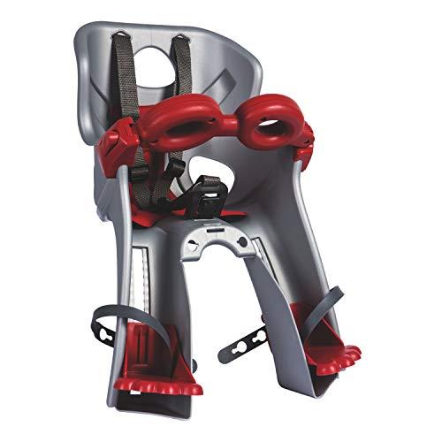 Bellelli 01FRCB0007 Seggiolino Bicicletta Anteriore Freccia, con Nuovo Attacco Universale B Fix, Argento/Rosso