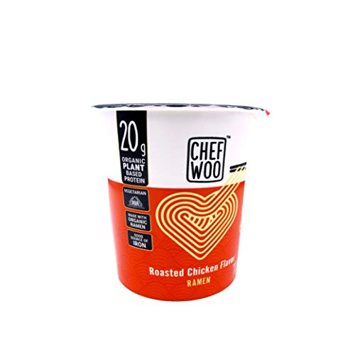 CHEF WOO Roasted Chicken Flavor Ramen Cup Noodles, 2.5 Oz Each (Pack Of 12) by Chef Woo | High-Protein Vegan Snacks and Meals | Halal | Kosher Protein | Egg-Free and Dairy-Free