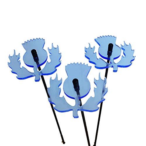 SunCatcher: SONNENFÄNGER 3er Set SCHOTTISCHE DISTEL fluoreszierende Gartendeko   6cm ø¸ mit 25cm Stab   Mehr Farbe für Ihren Garten - das ganze Jahr!   Gartenstecker Geschenk, Farbe:Blau