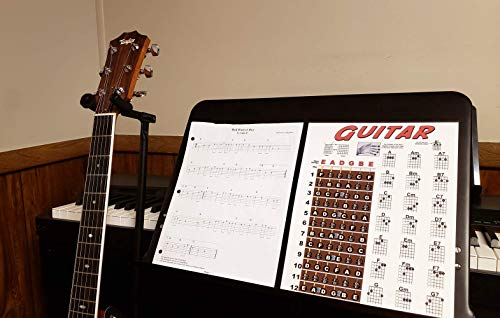"Laminated Guitar Fretboard & Chord Chart - Easy Instructional Poster for Beginner 8.5""x11"""