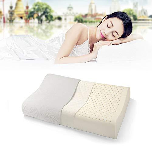 Unbekannt Latex Kopfkissen Latexkissen, Ergonomische mit Kissenbezug für Verbesserung der Schlaflosigkeit, Nackenmassage, hypoallergen, antibakteriell, Anti-Milbe Staub