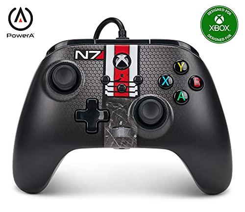 - Mando con cable mejorado PowerA para Xbox Series X S – Mass Effect N7, mando, mando para videojuegos con cable, mando para juegos, Fallout, Xbox Series X S (Xbox Series X)