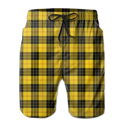 Jaune et Gris Buffalo Plaid Homme Plage Surf Short Short de Bain Short Pantalon Short - Blanc - XXXXL-L