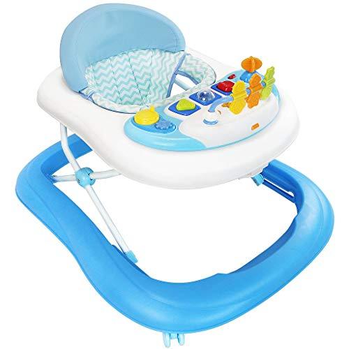 Todeco - Girello, Centro Attività per Bambini - Fascia d\'età: Da 6 a 18 mesi - Materiale: PP - Modello blu con giocattoli