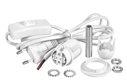 VBS Lampenfassung E14 weiß mit Schalter und Kabel 1,7m A++ bis E
