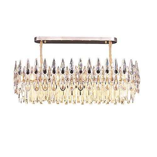 LLLKKK Lámpara de araña de cristal, moderna para el hogar, salón, llama, atmósfera sencilla, restaurante, dormitorio, cristal, decoración, lámpara de techo dorada, 16 luces