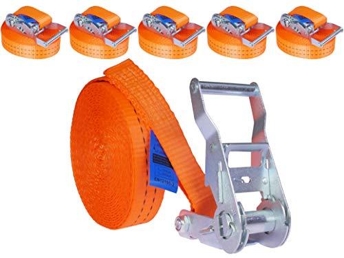 INDUSTRIE PLANET 5 Stück 2000kg 6m Spanngurte mit Ratsche orange 1 teilig einteilig Zurrgurte Ratschengurt 35mm 2000 daN 2t