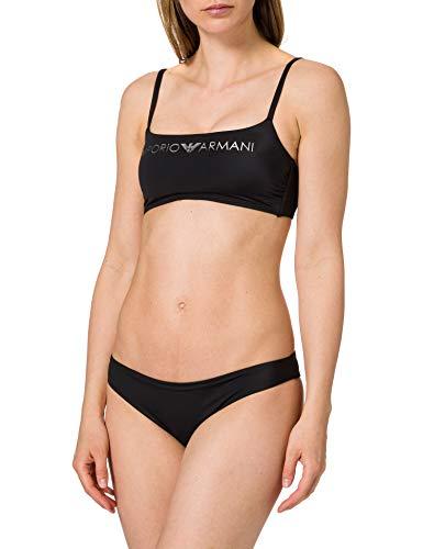 Emporio Armani Swimwear Womens Top & Brazilian Brief Light Logo Bikini Set, Black, L