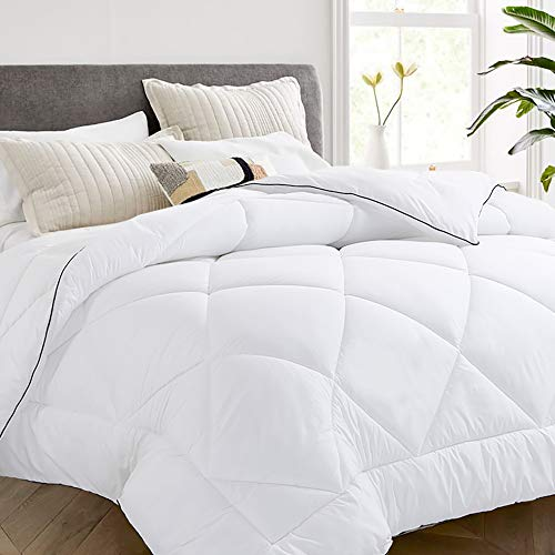 Vonabem All Season 2100 Series King Comforter - Cooling Goose Down Alternative Quilted Duvet Insert with Corner Tabs - Plush Microfiber Fill - Machine Washable - Hypoallergenic - White