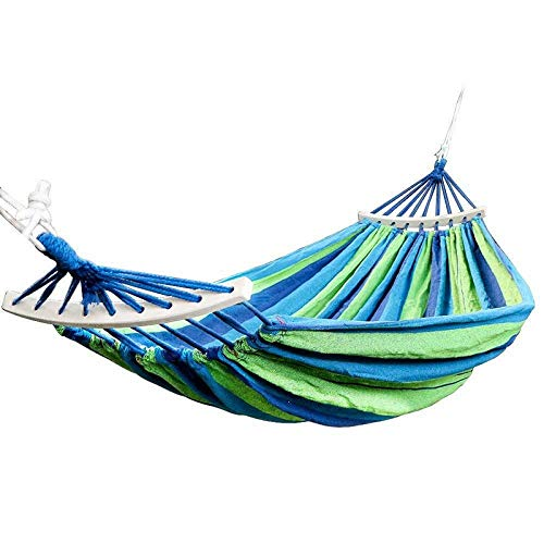 HUANXI MultifunctionSingleHammocks Stands with Storage Bag + Strap,300kg Load Capacity (190x80cm) Blue And Green Stripes Pop Up Sports Tent for Backpacking and Thru-Hikes