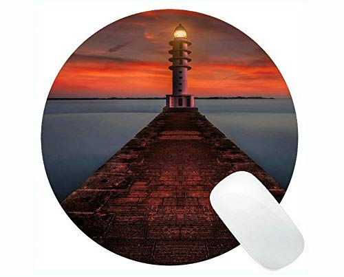Yanteng Round Mouse pad,Lighthouse Sea Cliffs Water Away Road Mouse pad