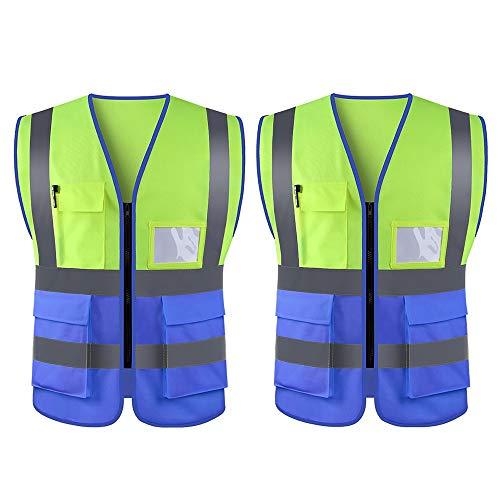 WUIO Chaleco De Alta Visibilidad, Chaleco Reflectante, Para Construcción, Administración De Carreteras, Advertencia De Seguridad, Ciclismo Y Caminata, Etc. (Amarillo + Azul - Paquete De 2)