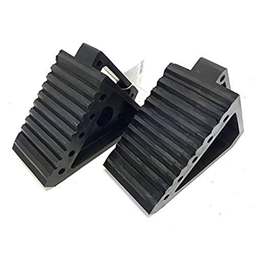 "MAXXHAUL 70472 Solid Rubber Heavy Duty Black Wheel Chock 2-Pack, 8"" x 4"" x 6"""