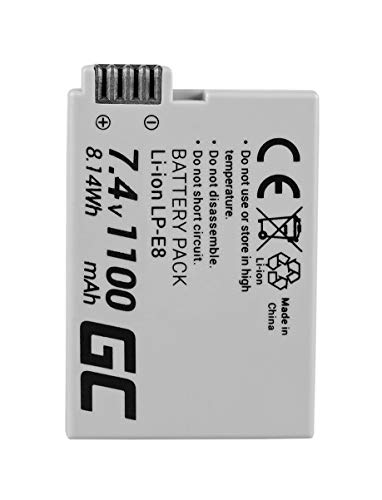 Green Cell® LP-E8 LPE8 Batterie pour Appareil Photo Canon EOS 550D 600D 650D 700D EOS Rebel T2i T3i T4i T5i Kiss X4 X5 X6, Full Decoded (Li-ION Cells 1100mAh 7.4V)