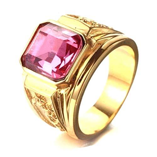 XINYIU Fashion Herren-Figment-Ring mit großen Strasssteinen, Goldfarbene Gravur, für Männerschmuck