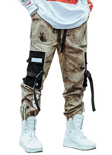 MOKEWEN Men's Camouflage Ribbon Zipper Ankle Band Casual Cargo Pants with Pocket Khaki W32-33