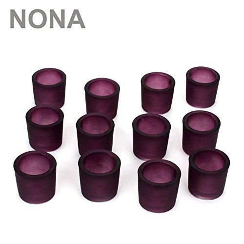 NoNa 12er Set 6 cm Teelichtglas Glas Farbe Lila Kerzenglas Windlicht Kerzengläser
