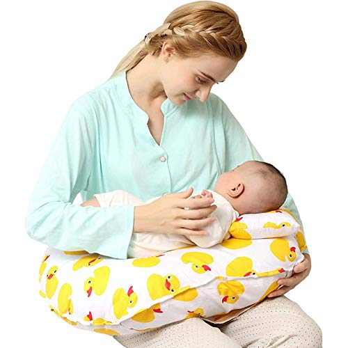 ZHANGXJ Pequeño Cojín Lactancia Bebé Almohadas para Lactancia 100% Algodón Multifuncional Ergonómico Almohada de Maternidad Amamantar Cojín Cómodo Respirable Casa (Color : Yellow)