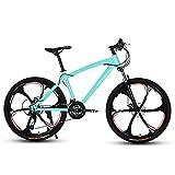 D&XQX 26-Zoll-Mountainbikes, Herrendoppelscheibenbremse Hardtail Mountainbike, Fahrrad Adjustable Seat, High-Carbon Stahlrahmen, 6 Spoke,27 Speed