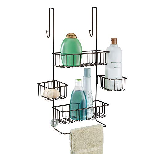 iDesign Metalo Bathroom Over the Door Shower Caddy with Swivel Storage Baskets for Shampoo Conditioner Soap 105quot x 825quot x 2275quot Bronze