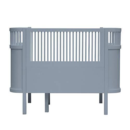 Sebra Ausstellungsstück Bett - Baby-, Juniorbett - das Bett, das mit dem Kind wächst - in Forest Lake Blue - aus Birkenholz !