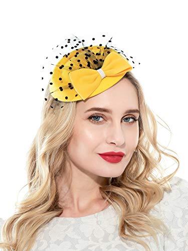 Zhyes Fascinator Hut für Frauen 20er 50er Jahre Hut Pillbox Hut mit Schleier Haarband Clip Teeparty Kopfbedeckung Gr. Einheitsgröße, gelb
