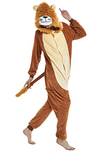 Adulto e Bambino Unisex Unicorno Tigre Leone Volpe Tutina Animale Cosplay Pigiama Costume di Carnevale di Halloween Fancy Dress Loungewear (Lion, M Altezza di 155-165 cm)