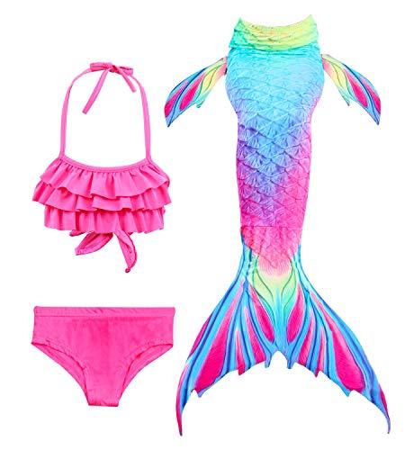 Hifunbay mädchen Meerjungfrau Schwanz Kinder Schwimmen Kostüm Enthalten 3 STÜCKE Bikini Badeanzug (DH52+WJF48,140)