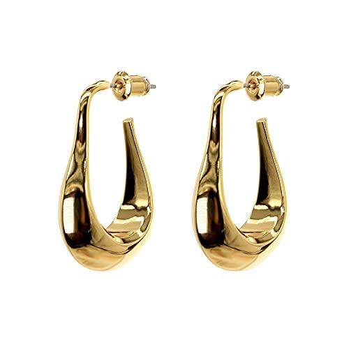 Afrodeti Pendientes de oro pequeños geométricos lindos de gota de agua