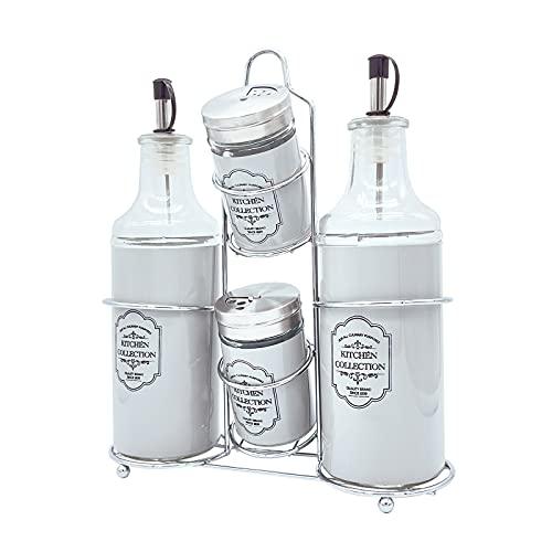 FGC Juego completo de utensilios de cocina, kit de aceitera, vinagrera, salero y pimentero de cristal con tapón dosificador y soporte de metal cromado de mesa