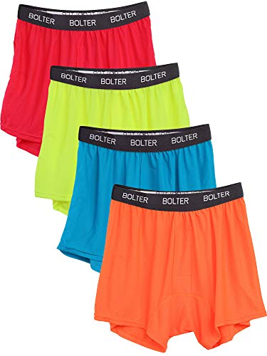 Bolter Men's 4 Pack Performance Boxers Shorts (X-Large, Neons)